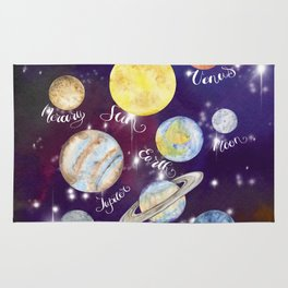 Planets Names Set Illustration Rug