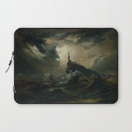 Carl Blechen - Stormy Sea with Lighthouse - German Romanticism - Oil Painting Laptop Sleeve