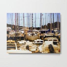 Boats in harbor Metal Print