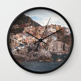 Cinque Terre, five lands, Manarola, Liguria, italian landscape, Italy love, UNESCO site, cliff village, sea villages Wall Clock