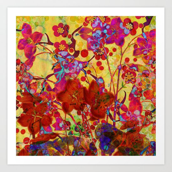 floral on yellow Art Print