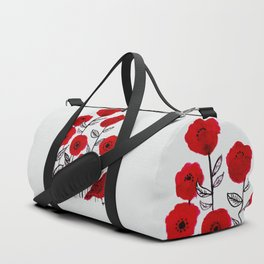 Tall poppies and red bird Duffle Bag