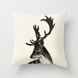 Deer Ink Throw Pillow