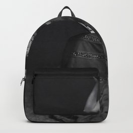 Raven Haired Beauty with the long dark hair black and white photograph Backpack