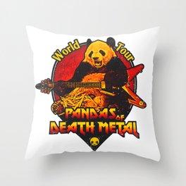Pandas of Death Metal Throw Pillow