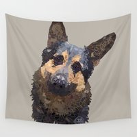 german Wall Tapestries featuring German Shepherd by ArtLovePassion