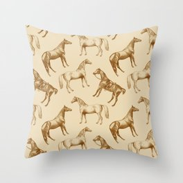 BROWN HORSES  & COFFEE WITH MILK  Throw Pillow