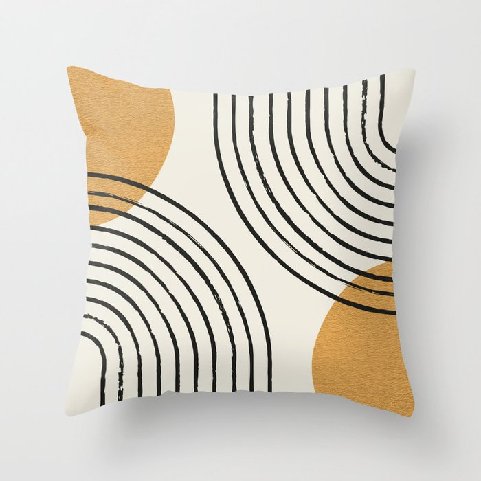 Sun Arch Double - Gold Throw Pillow