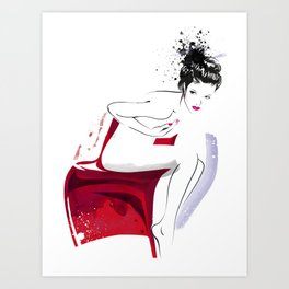 Naked Beauty, Nude Body, Fashion Painting, Fashion IIlustration, Vogue Portrait, Red colour, #14 Art Print