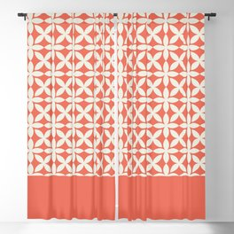 Pantone Cannoli Cream Square Petal Pattern on Pantone Living Coral Blackout Curtain