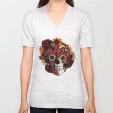 Full circle...Floral ohm skull Unisex V-Neck