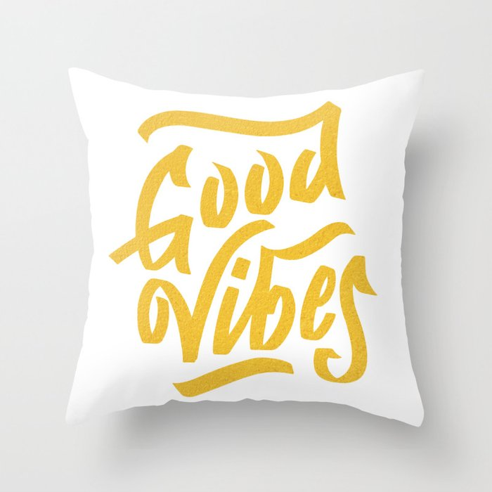 Good Vibes, white & gold lettering Throw Pillow
