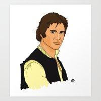 han solo Art Prints featuring Han Solo by Bleachydrew