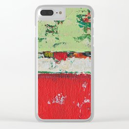 Dixon Red Green Abstract Painting Print Clear iPhone Case