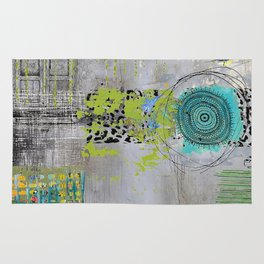 Teal & Lime Round Abstract Art Collage Rug
