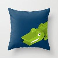 crocodile Throw Pillows featuring Crocodile by Mezoozoo