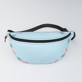 Floral cartoon circle on blue background. Fanny Pack