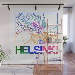 Helsinki Watercolor Street Map Wall Mural