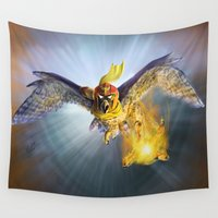 falcon Wall Tapestries featuring Falcon Kick by Mike Shachook