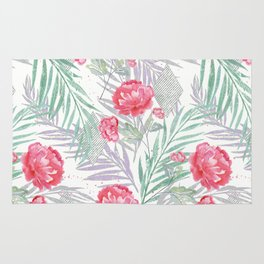 Carnations on a white background. Rug