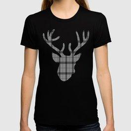 Plaid Deer Head: Grey T-shirt