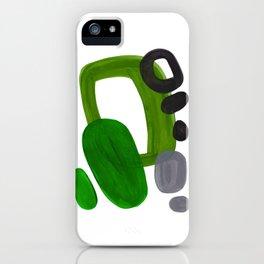Mid Century Vintage 70's Design Abstract Minimalist Colorful Pop Art Olive Green Dark Green Grey iPhone Case