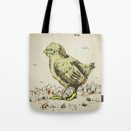 feel the earth tremble (or monster chick) Tote Bag