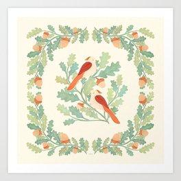 Art Nouveau Illustration / Square / Birds on Oak Tree / Red Feathered Birds Art Print