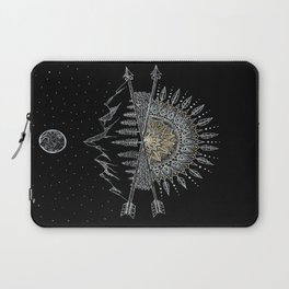 Moon and Stars Night Sky Mountain Range Arrow Mandala Laptop Sleeve