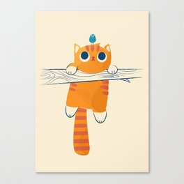 Fat cat, little bird Canvas Print