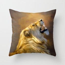 Roaring lion portrait Throw Pillow