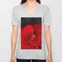 Red Rose Flower Close up Unisex V-Neck