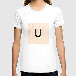 Scrabble Letter U - Large Scrabble Tiles T-shirt