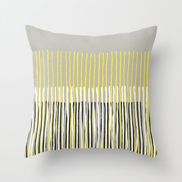 Yellow Rising - abstract stripes in yellow, grey, black & white Throw Pillow