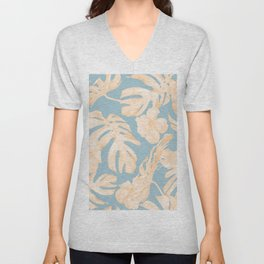 Island Vacation Hibiscus Palm Coral Sky Blue Unisex V-Neck