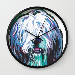 Fun Bearded Collie Dog Portrait bright colorful Pop Art Dog Painting by LEA Wall Clock