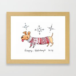 Holiday Card - Happy Hotdog Framed Art Print
