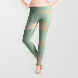 Simply Brushed Stripe White Gold Sands on Pastel Cactus Green Leggings