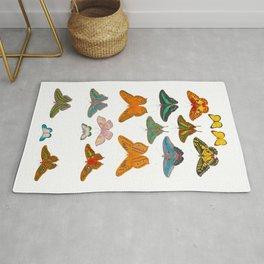 Vintage Scientific Illustration Of Colorful Butterflies Rug