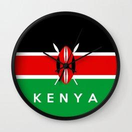 Kenya country flag name text Wall Clock