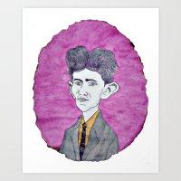 kafka Art Prints featuring Kafka by Dandy