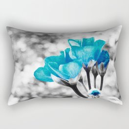 Turquoise FloWERS Pop of Color Rectangular Pillow