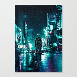 Another Rainy Night ( The Continuous Tale Of The Lost Astronauta) Canvas Print