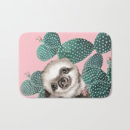 Sneaky Baby Sloth and Cactus in Pink Bath Mat