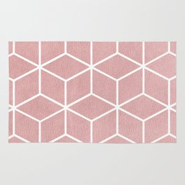Blush Pink and White - Geometric Textured Cube Design Rug