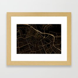 Black and gold Amsterdam map Framed Art Print