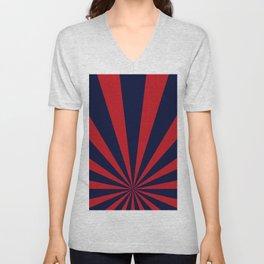 Retro dark blue and red sunburst style abstract background. Unisex V-Neck