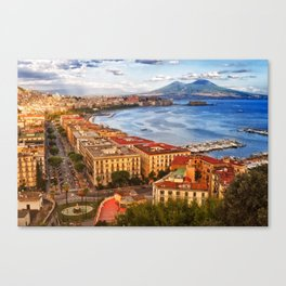 Italy, the gulf of Naples seen from the Posillipo hill Canvas Print