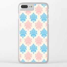 Coral blue ivory vintage chic floral damask pattern Clear iPhone Case