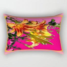 Modern Art Day Lily Fuchsia-Coral Colors Rectangular Pillow
